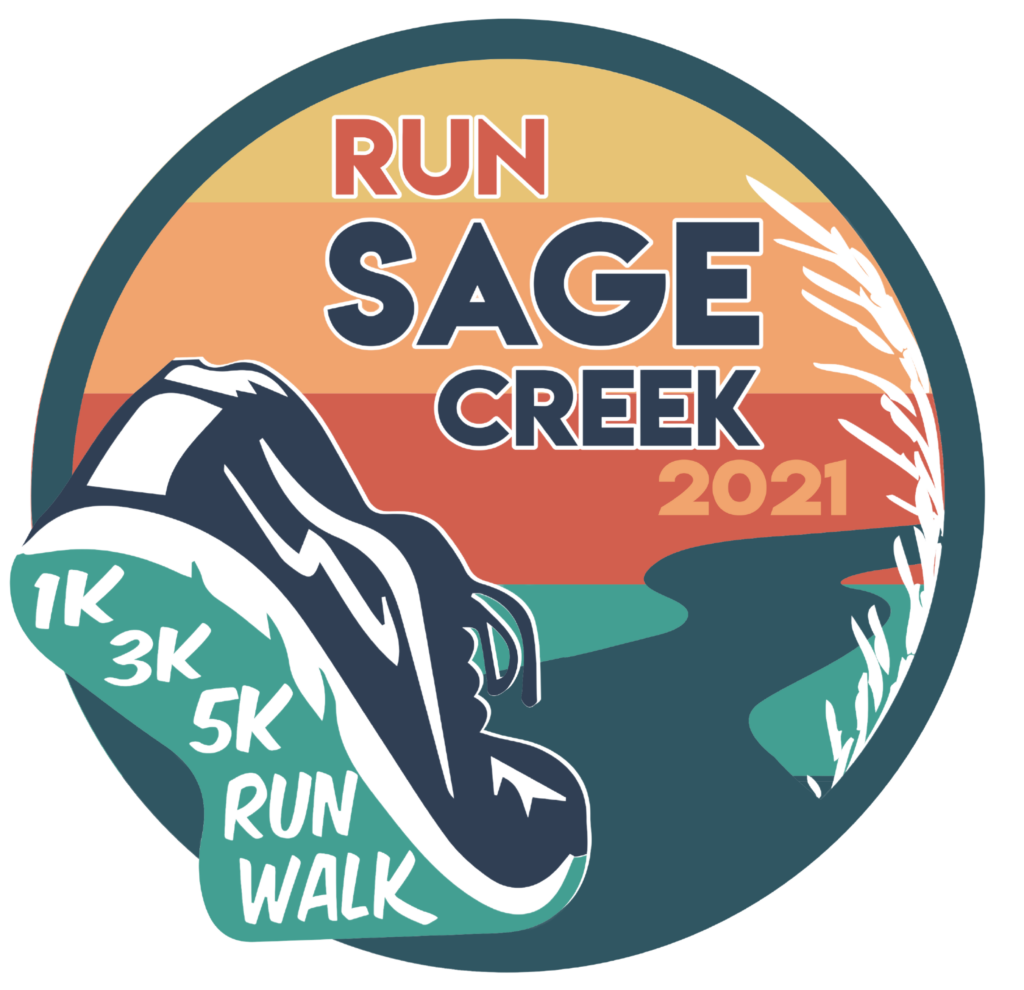 Logo for Run Sage Creek with a navy and teal running show, a sunset, a trail, all in a circular frame